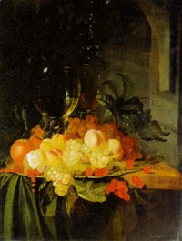 a roemer, a covered glass and fruit on a plate on a draped table by jacobus van der hagen