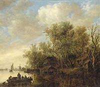 a wooded river landscape with a ferry crossing the water, houses on the river bank and a windmill beyond by jan josefsz van goyen