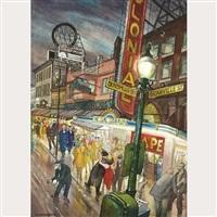 granville street at night (evening, granville street; granville street, wartime) by jack leonard shadbolt
