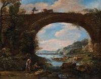 pêcheurs et bergers près d'un pont by jan de momper