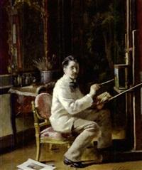 le peintre dans son atelier by edouard gelhay