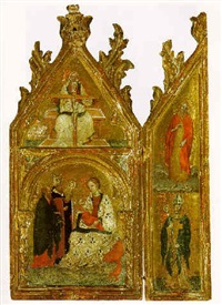 the madonna of humility with two saints and the holy trinity above by jacobello del fiore