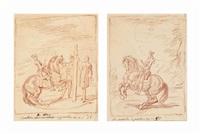 courbettes de côté à gauche et la pirouette à gauche (2 works) by charles parrocel