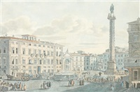 vue de la place de l'obélisque à catane by louis jean desprez