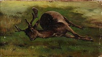 a shot deer by simon ludvig ditlev simonsen