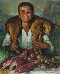 jeune garçon à l'agneau by josé cruz herrera