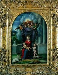 vierge à l'enfant avec saint- jean baptiste, dieu le père et un choeur d'anges by camillo filippi