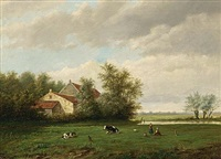 a landscape with two girls playing in a meadow near a house by willem vester