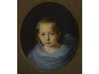 portrait of a young girl in blue by konstantin egorovich makovsky
