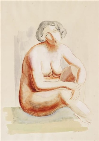 seated nude by moïse kisling