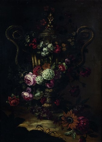 bouquet de fleurs dans un vase en bronze à anses by gaspar pieter verbruggen the younger