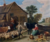 fermiers devant une auberge (in the style of david teniers) by flemish school (19)