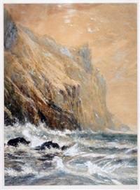 sea cliffs with gulls by william linton