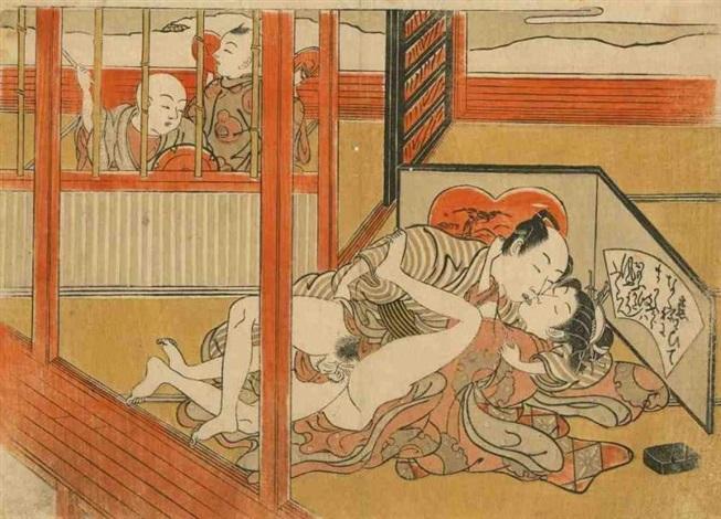 chuban yoko e amants sétreignant deux enfants à lextérieur de la pièce dont lun les observant by isoda koryusai