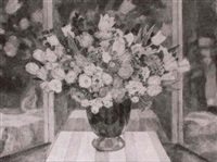flowers in a vase before a triptych mirror by ferdinand spiegel