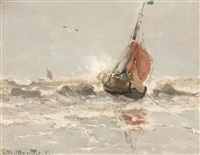 barge in the surf by gerhard arij ludwig morgenstjerne munthe