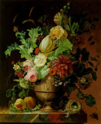 roses, tulip, a peony and other flowers on a marble pedestal by johannes hendrik fredriks