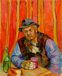 man with a glass of wine by ruzana ambartsumyan