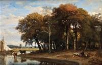 bergère et son troupeau by felix-hippolyte lanoue