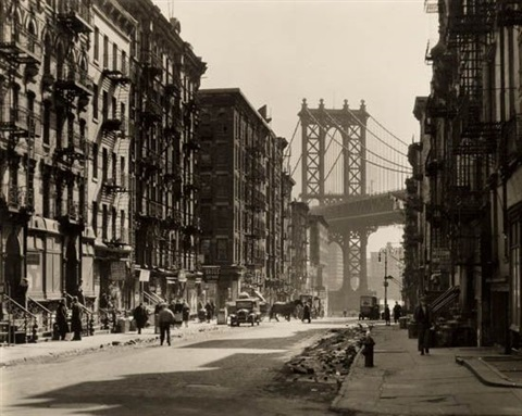 pike and henry streets street scene with the manhattan bridge by berenice abbott