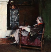 interior with an elderly woman by herman albert gude vedel