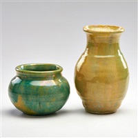 vases (2 works) by pewabic pottery