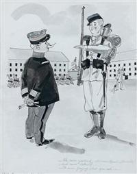 maurice chevalier sous les drapeaux au cours d'une inspection d'un gradé by james rassiat