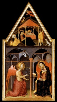 the annunciation with the nativity and the annunciation to the shepherds in the pinnacle above by andrea vanni