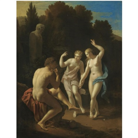 nymphs dancing to a pipe playing shepherd by pieter van der werff
