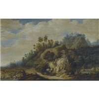 a mountainous landscape with figures walking along a path with a horse and cart by joachim govertsz camphuysen