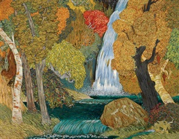 forest and waterfall by narayan shridhar bendre
