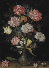 carnations, a tulip, an iris, fritillaries, a crocus and other flowers in a glass vase, with a grasshopper, a snail and other insects on a stone ledge by balthasar van der ast