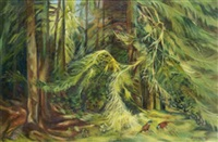 pheasant in wooded landscape by pauline merry