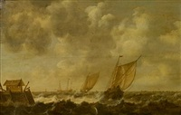 a choppy sea with shipping offshore by cornelis hendriksz vroom
