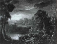wooded moonlit landscape by charlotte nasmyth