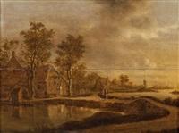 paysage de rivière avec deux paysans près d'une chaumière by joachim govertsz camphuysen