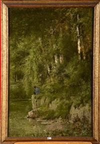 pêcheur dans la vallée de la meuse by hippolyte emmanuel boulenger