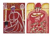 los von zwei werken: pape paul vi, 1962 habemus papam, um 1963/64 (2 works) by aloise