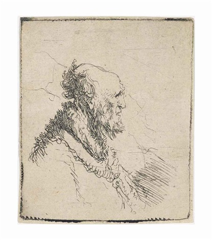 bald old man with a short beard in profile right by rembrandt van rijn