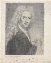 self portrait in a periwig, holding a brush by giovanni domenico campiglia