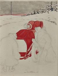 elégante à l'hotchkiss dans la neige by louis victor marie de fleurac