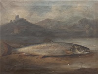 specimen salmon on a riverbank within a landscape by benno raffael adam