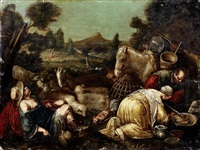 drovers tending their livestock by giambattista da ponte bassano