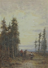 faggot gatherers; home thro the wood (pair) by william manners