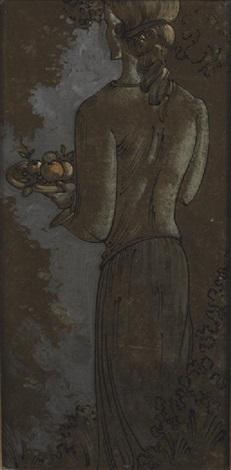 mädchen mit früchtekorb by oskar schlemmer