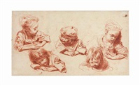 five studies of children by jean antoine watteau
