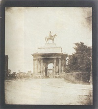 wellington statue on decimus burton's arch, hyde park corner, london by william henry fox talbot