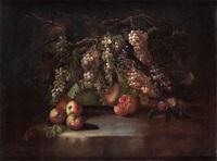 raisins, pommes et grenades sur un entablement de pierre by gilardo da lodi