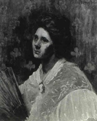 portrait of a lady wearing a white shawl with a hand fan by eurilda loomis france