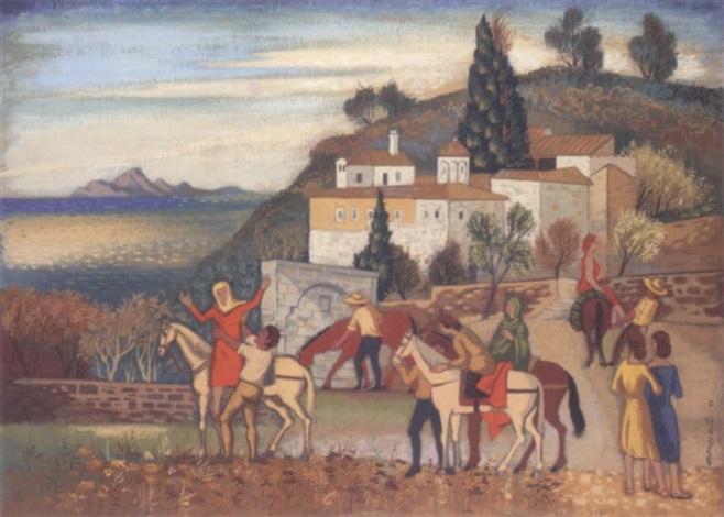 pilgrims at prodomos monastery by agenor asteriadis